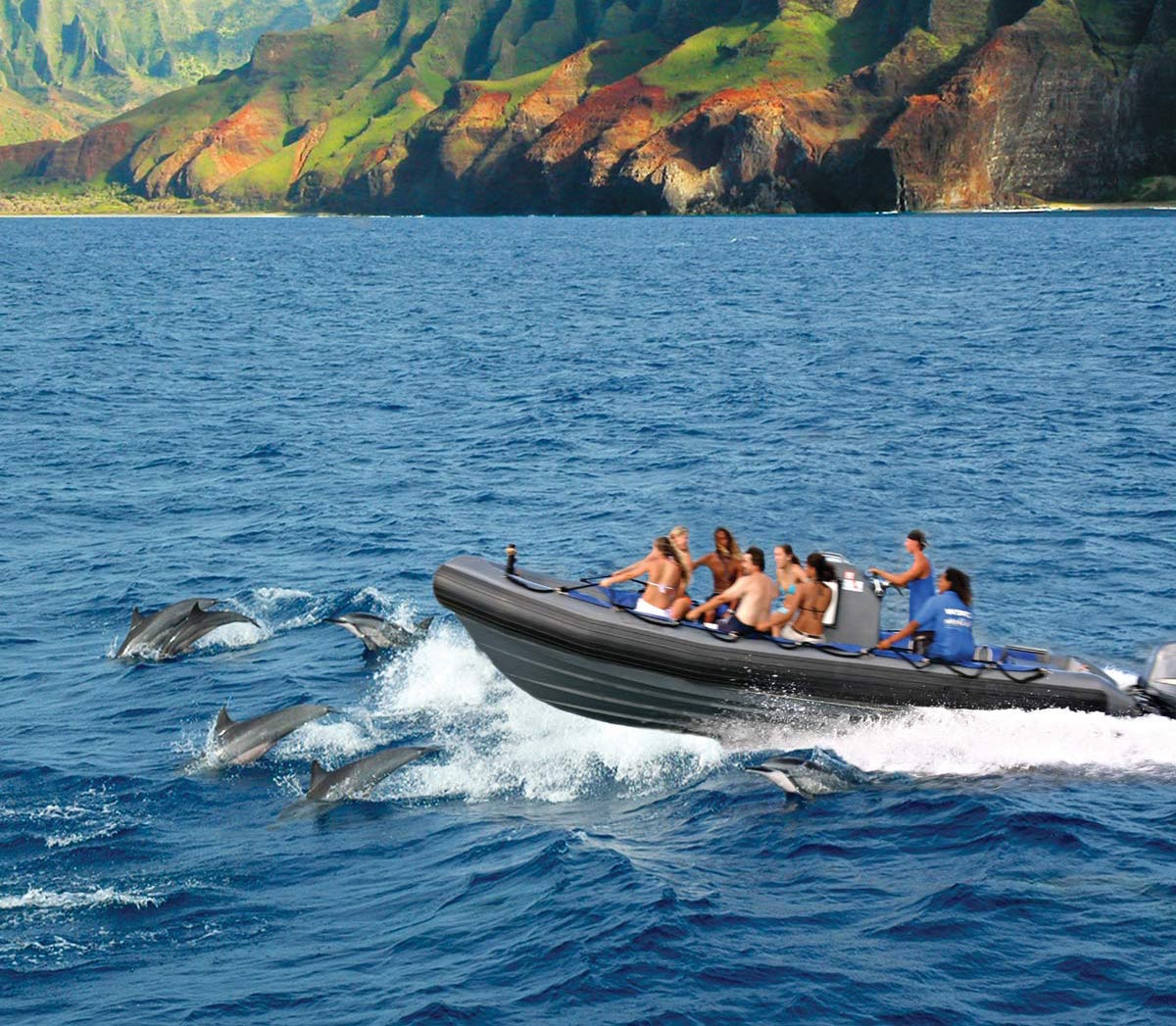 napali coast rafting and snorkeling - blue dolphin charters